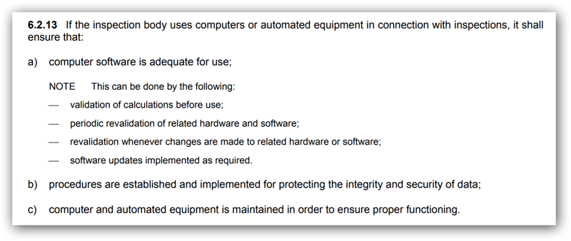 ISO/IEC 17020:2012 § 6.2.13